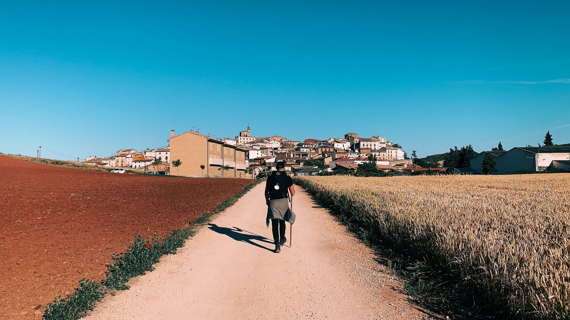 man walking on Camino de Santiago